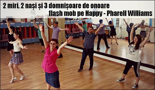 2 miri, 2 nași și 3 domnișoare de onoare dansează un dans flash mob